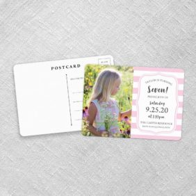 Birthday Stripes Save The Date Postcards Fb