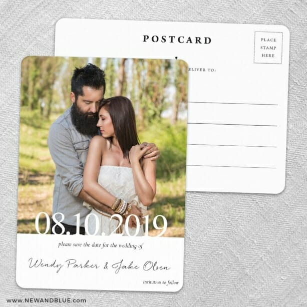 Bask In Love Save The Date Wedding Postcard Front And Back