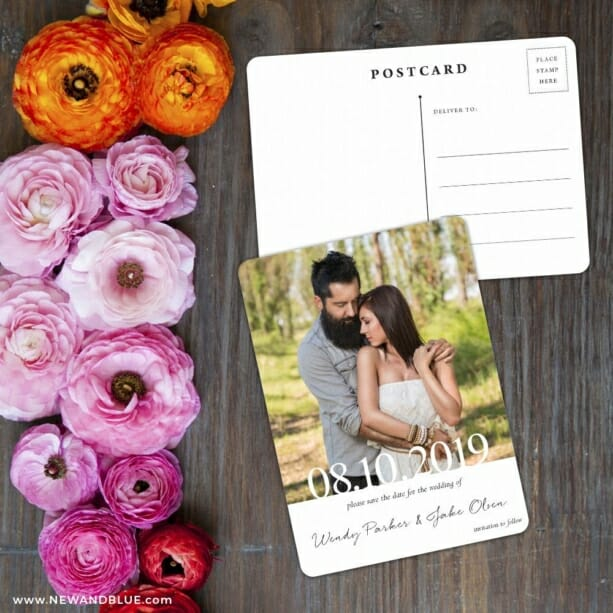 Bask In Love Save The Date Postcard With Back