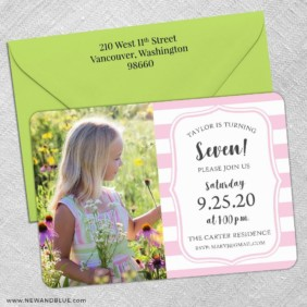 Birthday Stripes 5 Save The Date With Optional Color Envelope