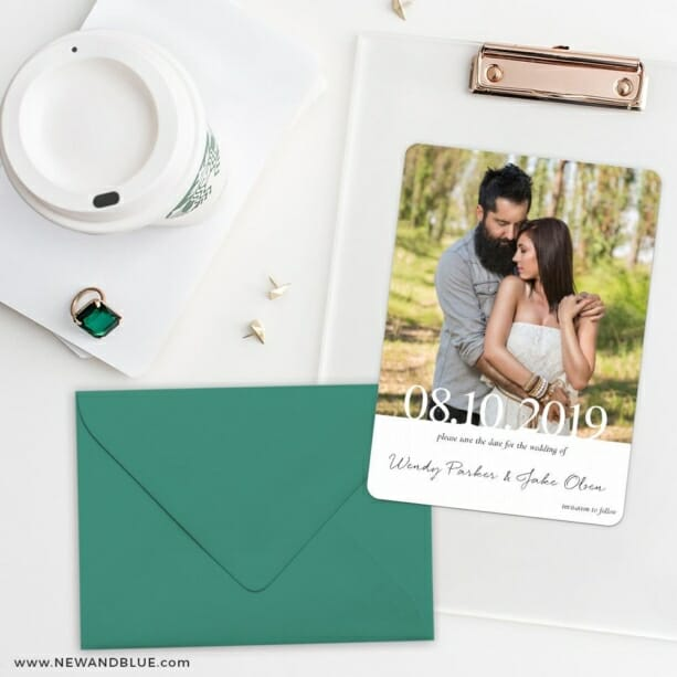Bask In Love Nb Save The Date Cards And Optional Color Envelopes