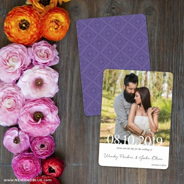 Bask In Love Nb Save The Date Card With Back Printing