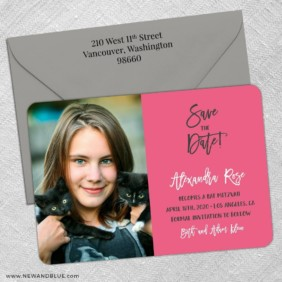 Modern Bat Mitzvah 5 Save The Date With Optional Color Envelope