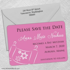 Torah Bat Mitzvah Nb 5 Save The Date With Optional Color Envelope