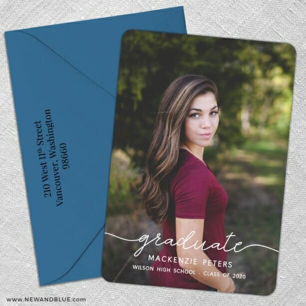 Senior Picture 5 Save The Date With Optional Color Envelope