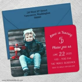 Happy Birthday 5 Save The Date With Optional Color Envelope