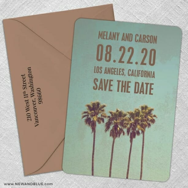 Los Angeles 5 Save The Date With Optional Color Envelope