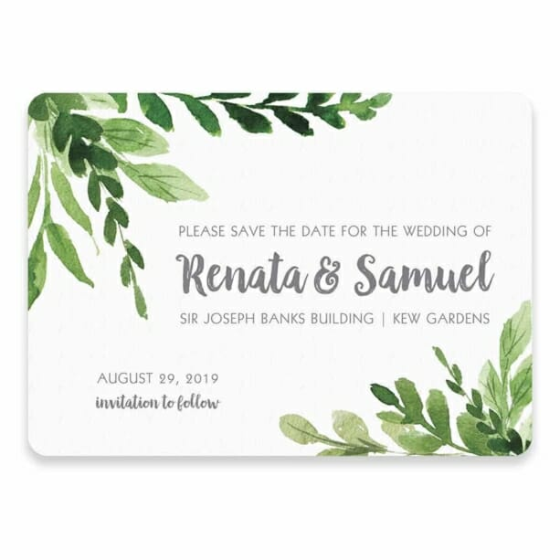 Greenery Save The Date Postcard In Color Gray