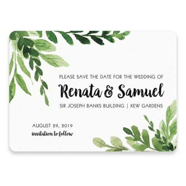 Greenery Save The Date Postcard In Color Black