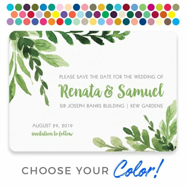 Greenery Save The Date Postcard Customizable Color