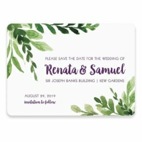 Greenery Save The Date Postcard In Color Purple