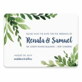 Greenery Save The Date Postcard In Color Blue