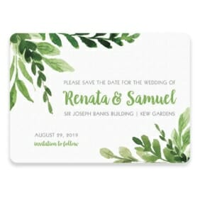 Greenery Save The Date Postcard In Color Green