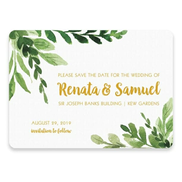 Greenery Save The Date Postcard In Color Gold