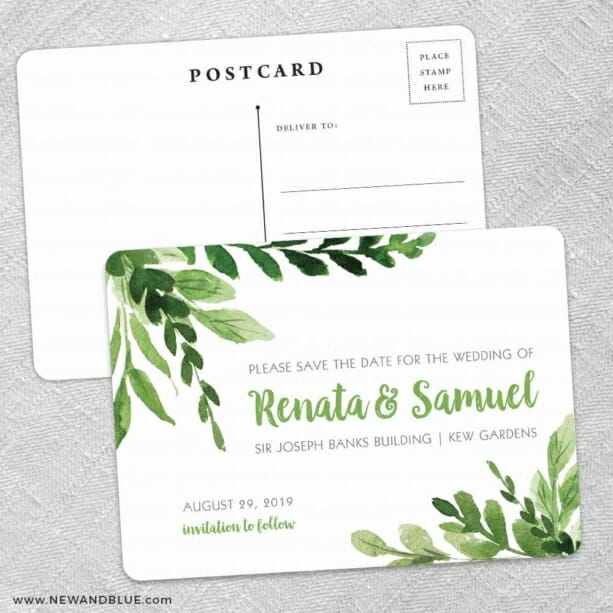 Greenery Save The Date Wedding Postcard Front And Back
