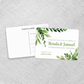 Greenery Save The Date Postcards Fb
