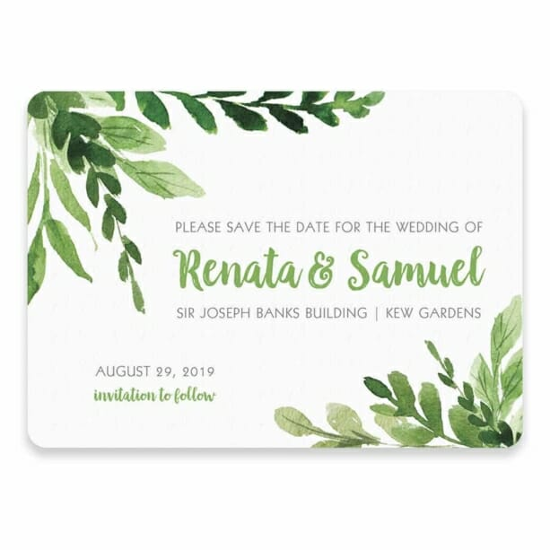 Greenery Save The Date Postcards