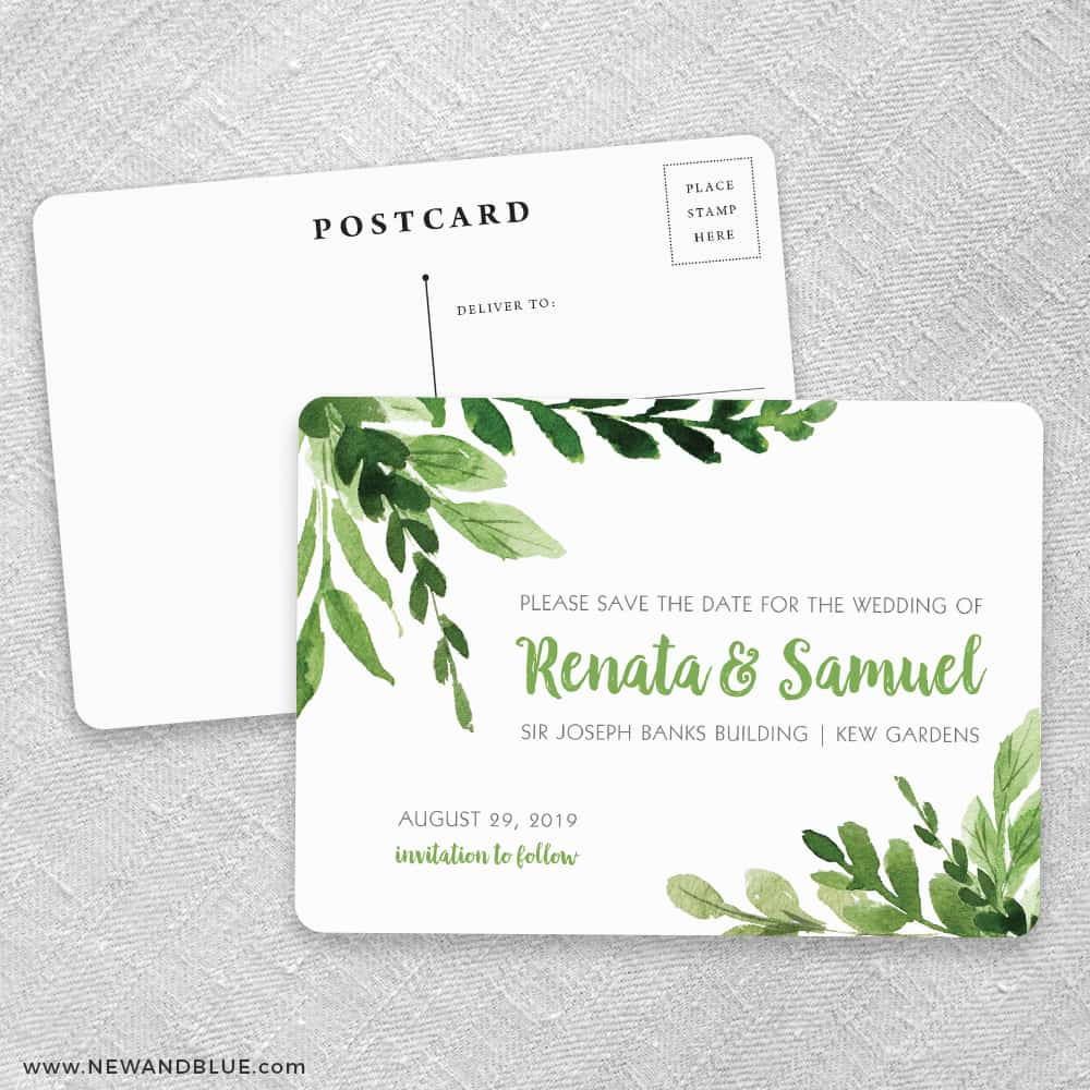 b88f4a2959baf Greenery Save The Date Postcards No Envelope Needed