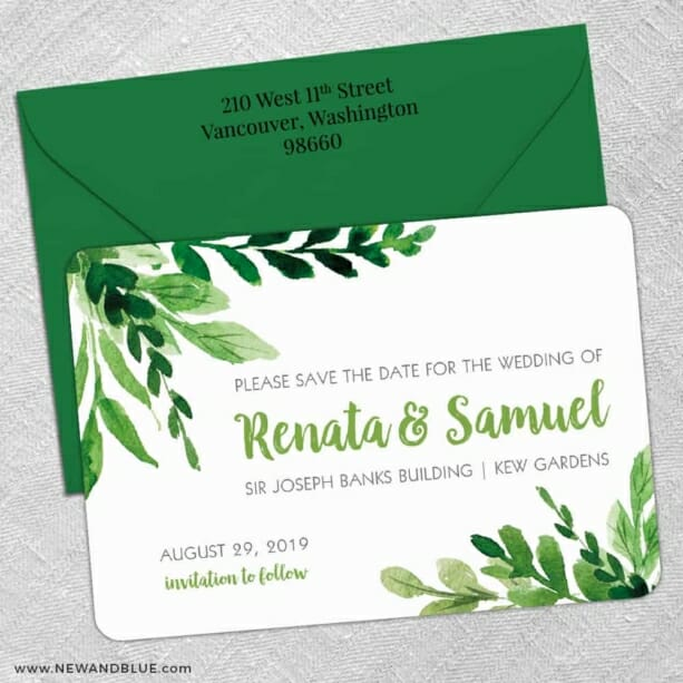 Greenery 5 Save The Date With Optional Color Envelope