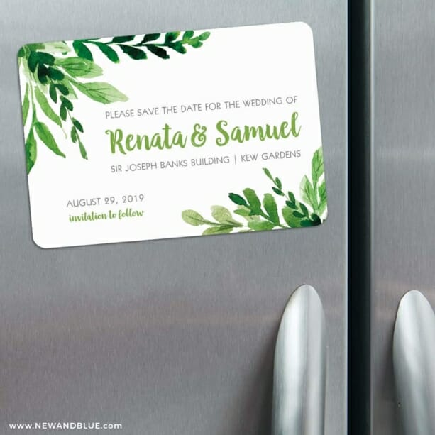 Greenery 3 Refrigerator Save The Date Magnets