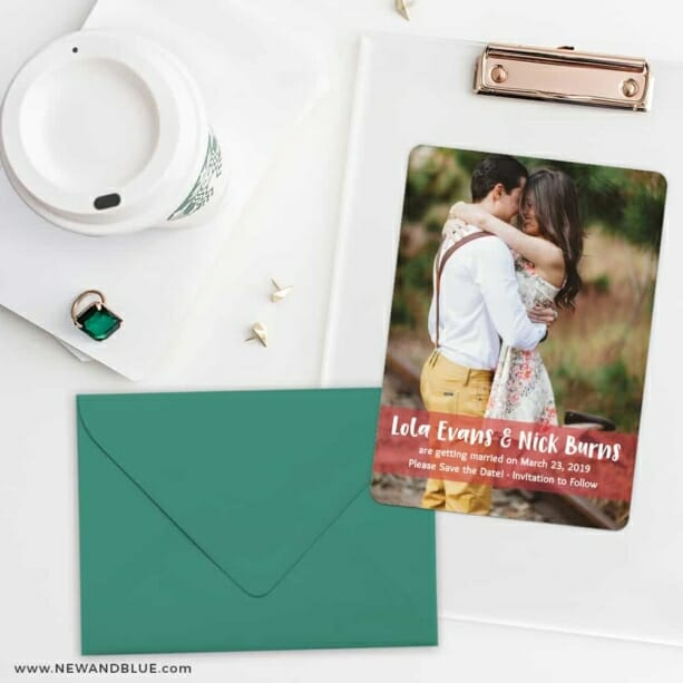 Breckenridge Nb Save The Date Cards And Optional Color Envelopes