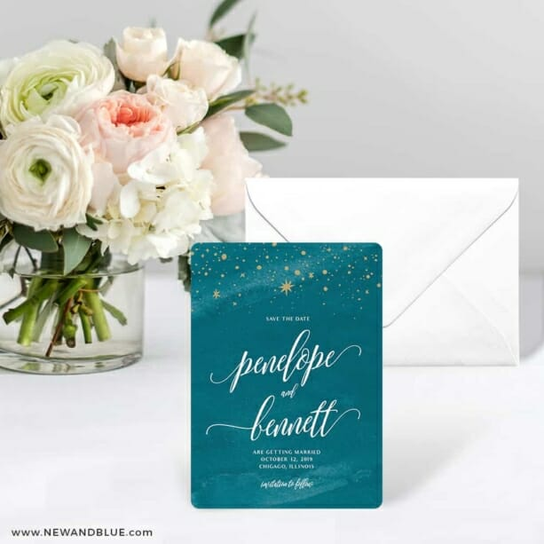 Estrella Save The Date Card With Envelope