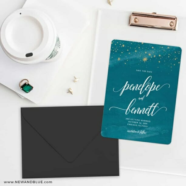 Estrella Save The Date Cards And Optional Color Envelopes