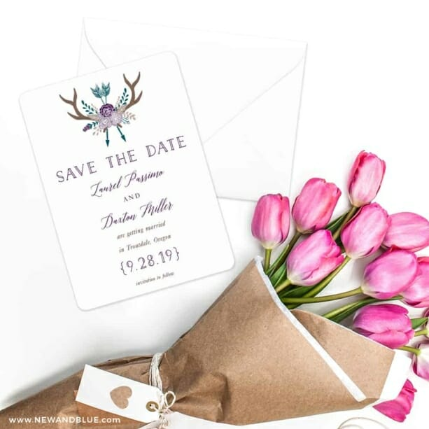 Wildaire Save The Date Cards With Envelope