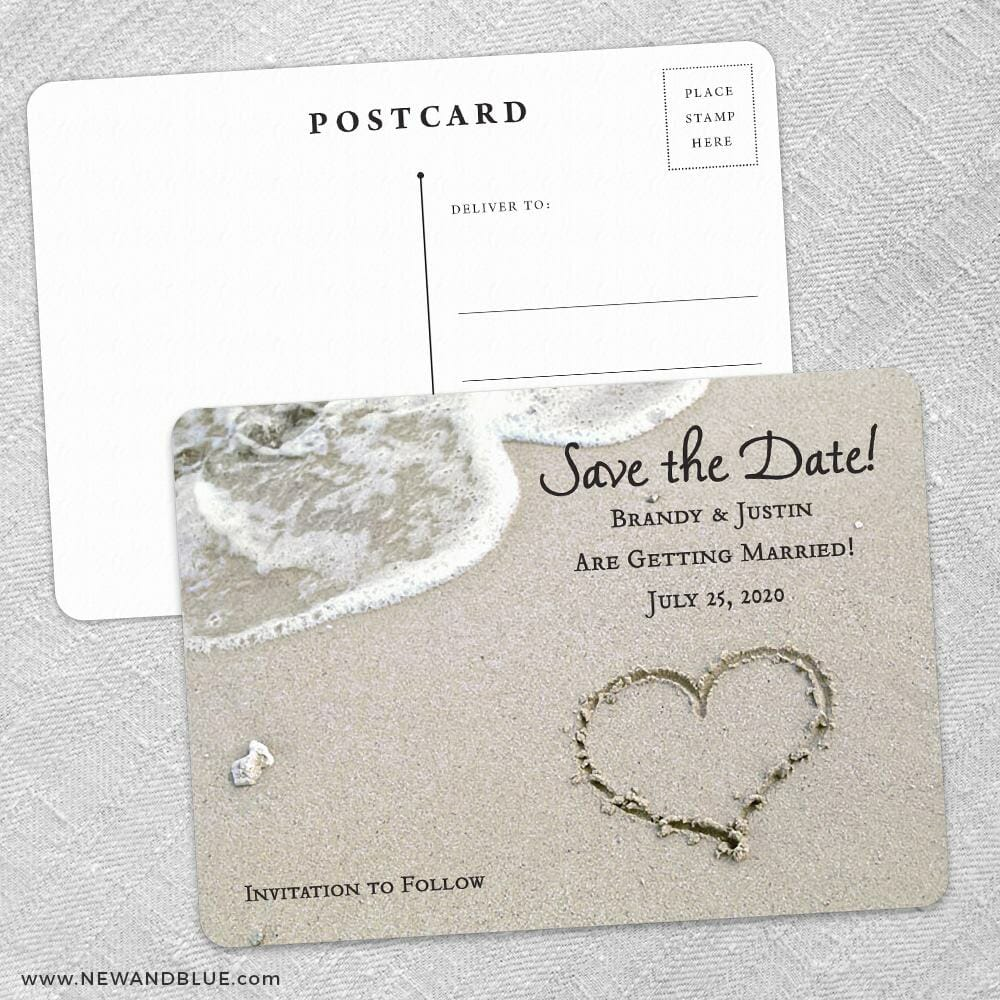 Heart On Beach Save The Date Postcards