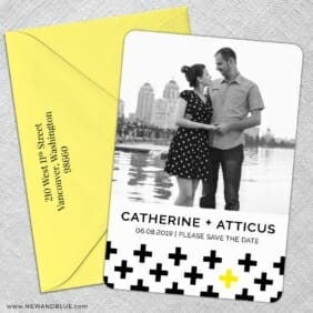 You Plus Me 5 Save The Date With Optional Color Envelope