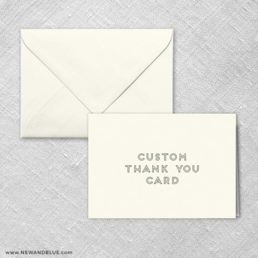 Thank You Card With Envelope Customizable Design Shown In Ivory