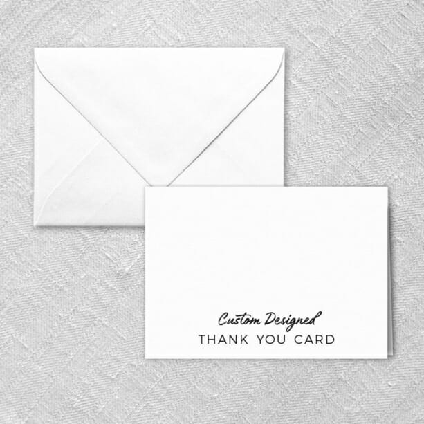 Custom Thank You Card And Envelope In Your Choice Of Color