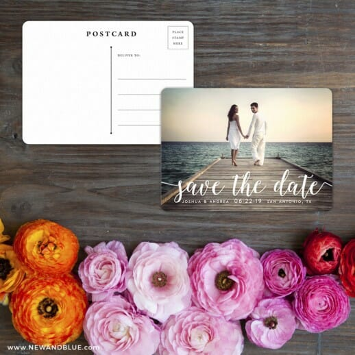 Handwriting Save The Date Postcard With Back