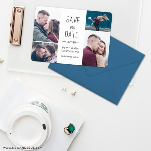 Baltimore Save The Date Cards And Optional Color Envelopes