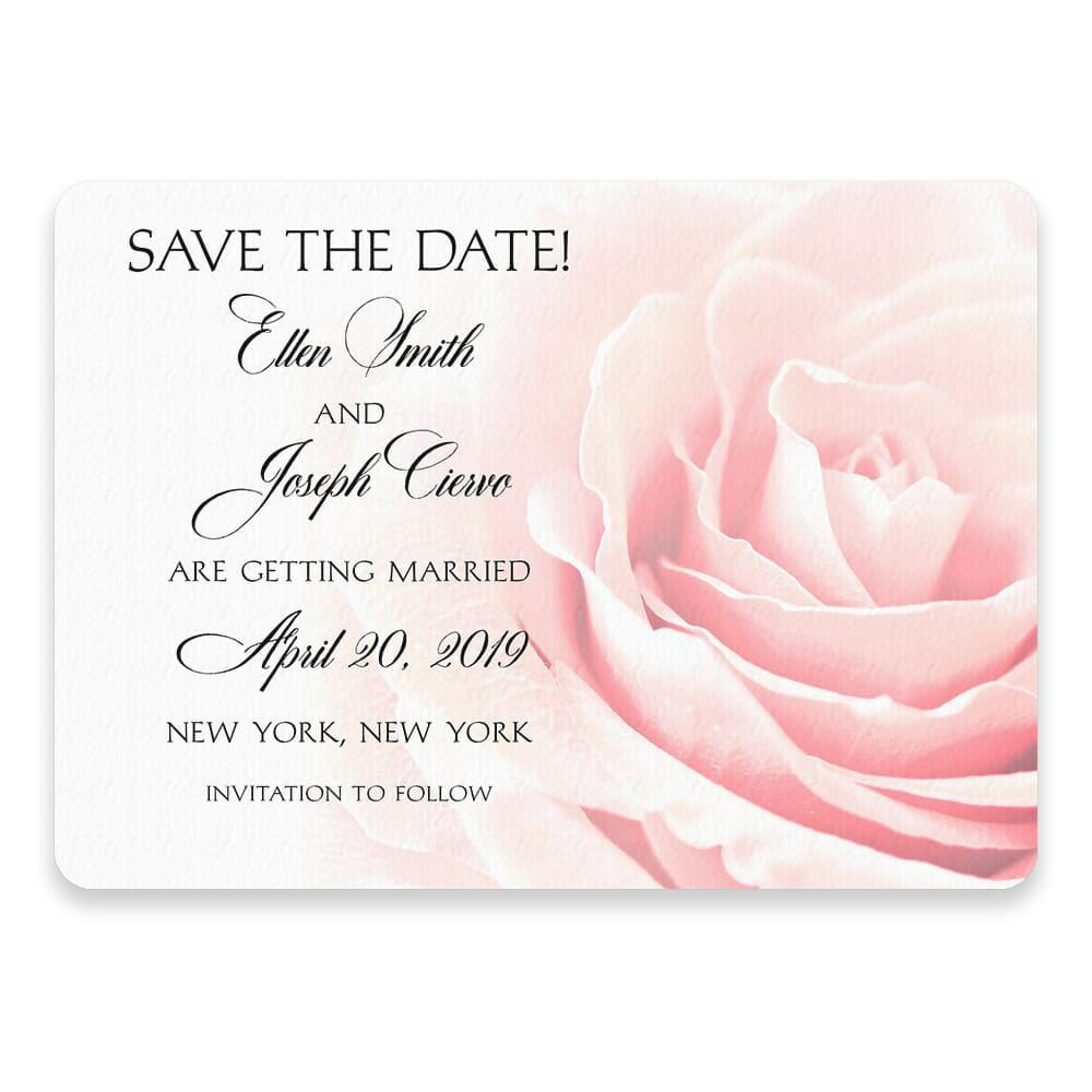 Pink Rose Save The Date Postcards