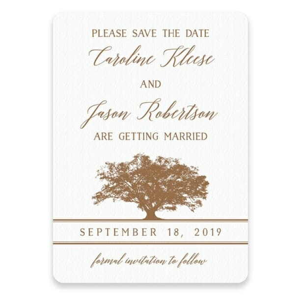Oak Tree Save The Date Postcards