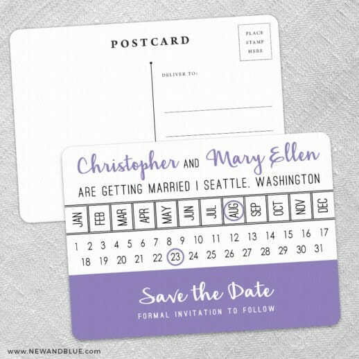 Modern Calendar Save The Date Wedding Postcard Front And Back