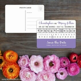 Modern Calendar Save The Date Postcard With Back