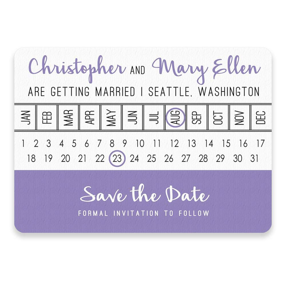 Modern Calendar Save The Date Postcards
