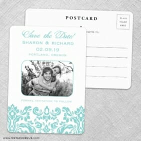 Grace Save The Date Wedding Postcard Front And Back