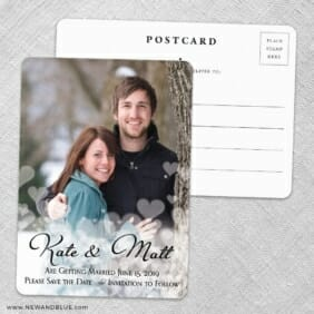Glistening Hearts Save The Date Wedding Postcard Front And Back