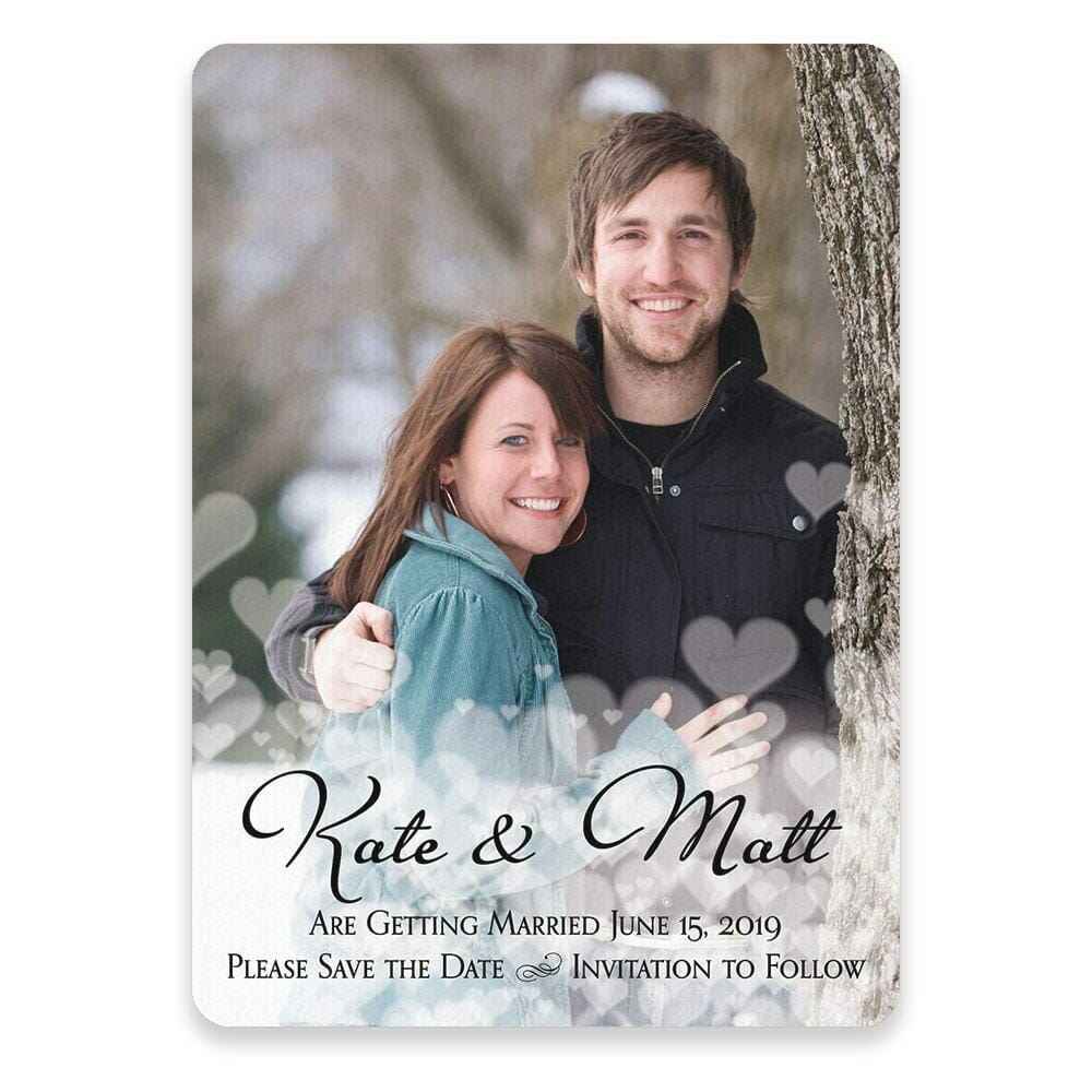 Glistening Hearts Save The Date Postcards