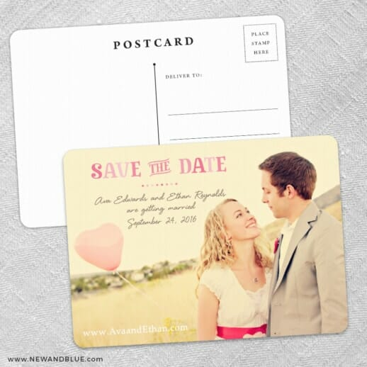Frolic Save The Date Wedding Postcard Front And Back