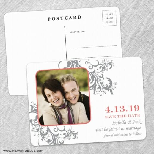 Flourish Save The Date Wedding Postcard Front And Back