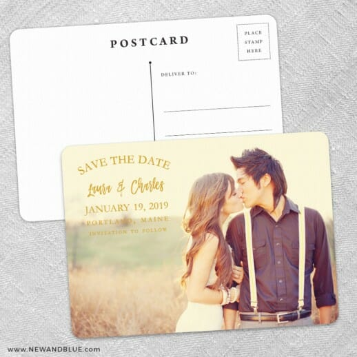 Breaking News Save The Date Wedding Postcard Front And Back