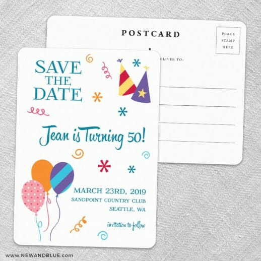 Birthday Bash Save The Date Wedding Postcard Front And Back