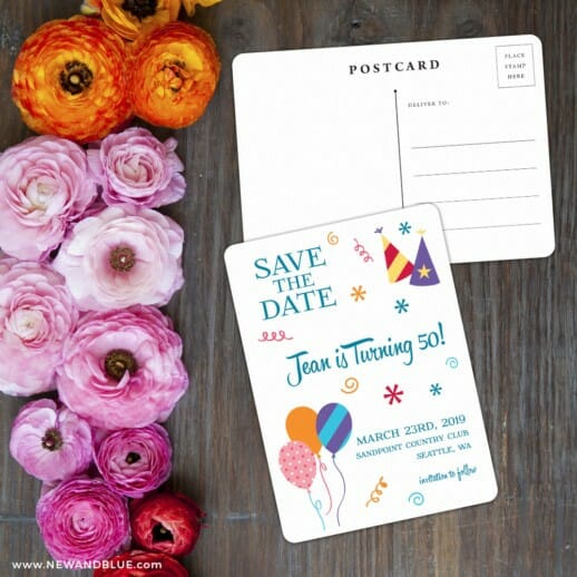 Birthday Bash Save The Date Postcard With Back