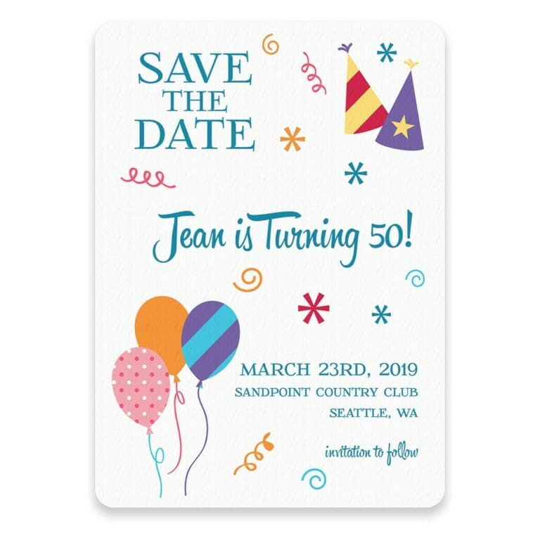Birthday Bash Save The Date Postcards