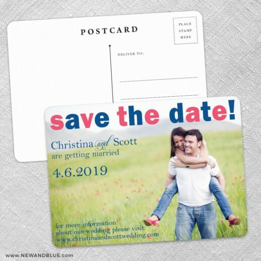 Big Sky Save The Date Wedding Postcard Front And Back
