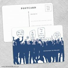Big Celebration Bar Bat Mitzvah Save The Date Wedding Postcard Front And Back